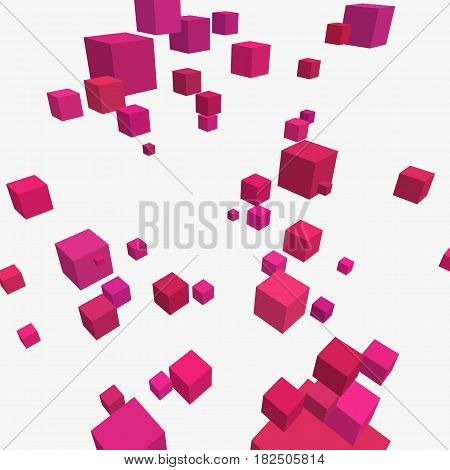Modern vector illustration with chaotic array of colorful cubes. Soaring rectangular 3d shapes on a bright background. Random geometric composition with square blocks. Element of contemporary design.