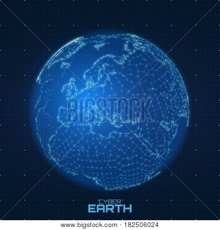 Vector World map construted of numbers and lines. Abstract globe connections illustration. Futurisric spherical map. Europe centered. Technological planet concept. International data communication