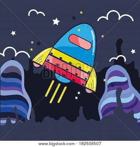 space rocket galaxy sky travel, vector illustration
