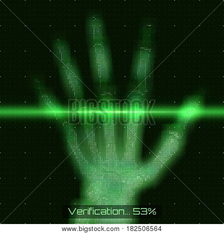 Vector green abstract hand tomography analysis illustration. Palm x-ray scan. Medical data MRI visualization concept. Futuristic healthcare software HUD UI. Hand security check. Data driven image.