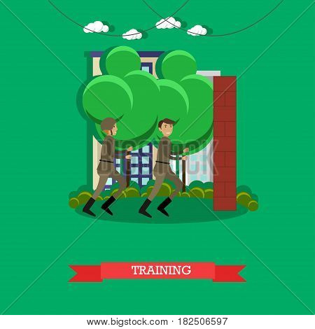 Vector illustration of army soldiers jogging, running. Military physical training flat style design.