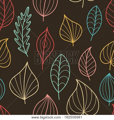 Creative Seamless Pattern with Fall on Dark Backdrop. Doodle Art Contour Leaves. Continued Background for Cloth Fabric Textile Tissue.