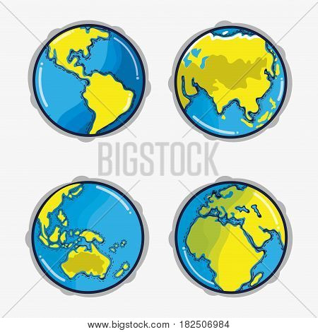differents parts to earth planet in the space, vector illustration