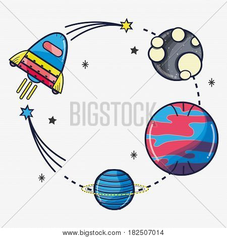 rocket exploring the planets in the space galaxy, vector illustration