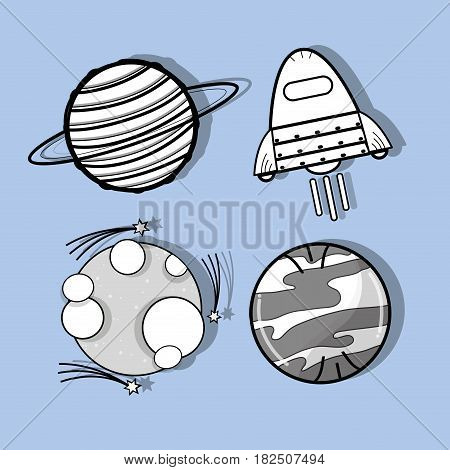 uranus, venus, moon and rocket in the space, vector illustration