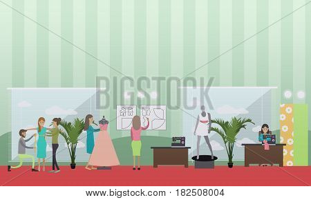 Vector illustration of clothing designer, dressmaker, seamstress sewing bespoke clothing. Atelier, tailoring shop, fashion salon concept design element in flat style.