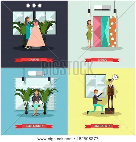 Vector set of fashion atelier square posters. Dummy, Fabric, Embroidery and Sewing suit concept design elements in flat style.