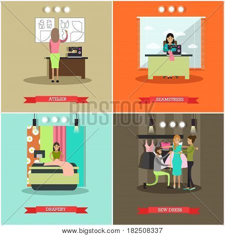 Vector set of fashion atelier posters. Atelier, Seamstress, Drapery, Sew dress concept design elements in flat style.
