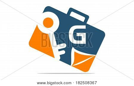 This vector describe about Briefcase Key Document Initial G