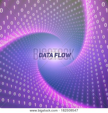 Vector data flow visualization. Violet big data flow as binary numbers strings twisted in tunnel. Information code representation. Cryptographic analysis. Bitcoin blockchain transfer. Stream of code