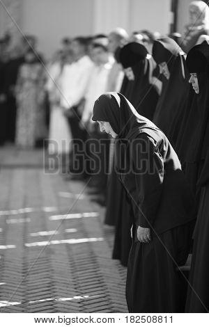 Kiev, Ukraine - 28 August 2016: The Nuns Pray In The Kiev-pechersk Lavra At The Divine Liturgy.