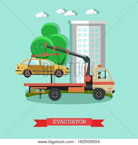 Vector illustration of tow truck evacuating car parked in forbidden place. Evacuator flat style design element.