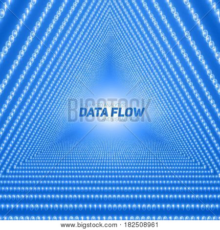 Vector data flow visualization. Triangle tunnel of blue big data flow as binary numbers strings. Information code representation. Cryptographic analysis. Bitcoin blockchain transfer. Stream of code