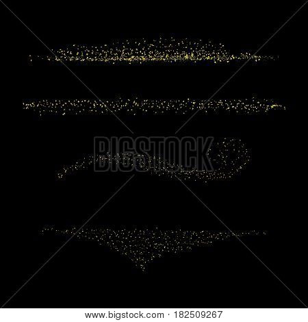 Gold Confetti Set On Black Eps 10 Vector