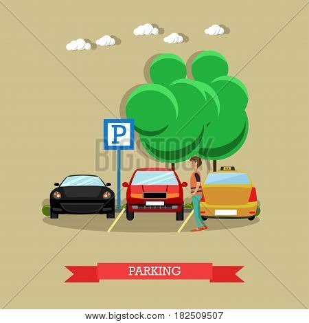 Parking concept vector illustration. Parking lot sign, parked cars in car park flat style design elements.
