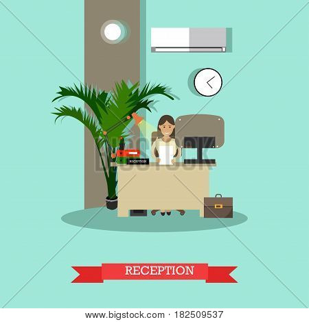 Vector illustration of young woman receptionist standing at reception desk. Car shop reception flat style design element.