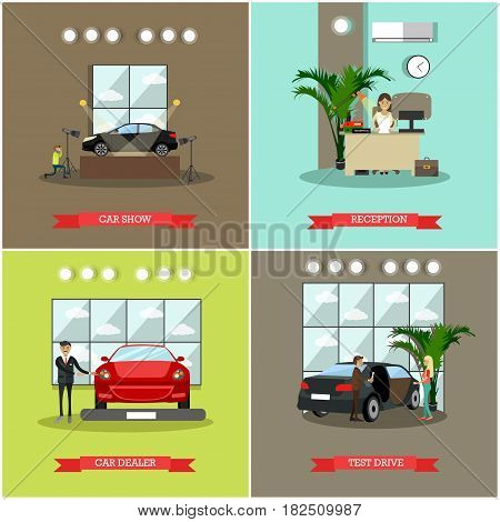 Vector set of car shop posters. Car show, Reception, Car dealer and Test drive flat style design elements.