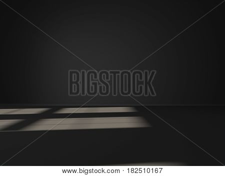 Empty black space. Mock-up template for display products title or logo. Studio or blank office space. 3d illustration