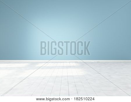 Empty space with blue wall and white floor. Mock-up template for display products title or logo. Studio or blank office space. 3d illustration