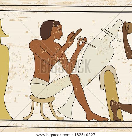 Vector illustration of Egyptian national drawing. Ceramist work in the workshop.