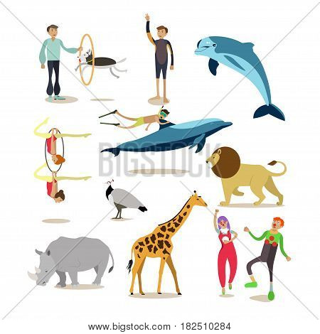 Vector icons set of dolphinarium, circus and zoo cartoon characters isolated on white background. Flat style design elements.