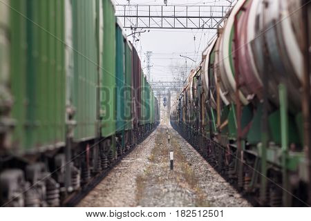 Freight trains on railway station (selective focus used)