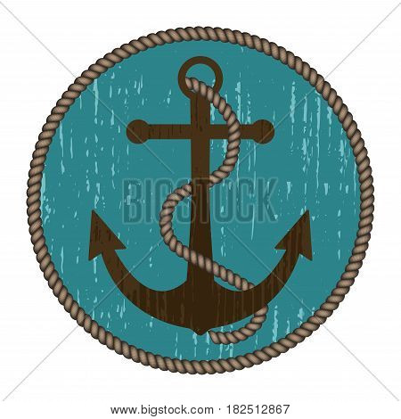 Nautical anchor with rope in vintage style. Round turquoise background. Vector illustration.