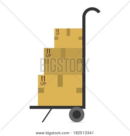 Mobile trolley with boxes. Flat design vector illustration vector.