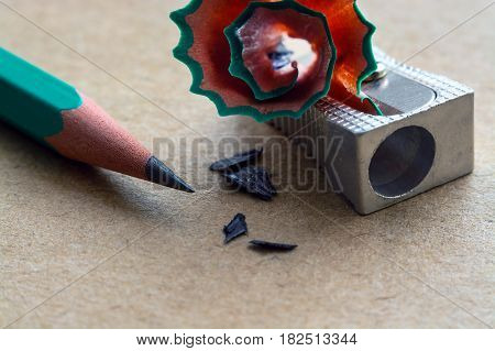 Pencil Sharpener On Craft Paper