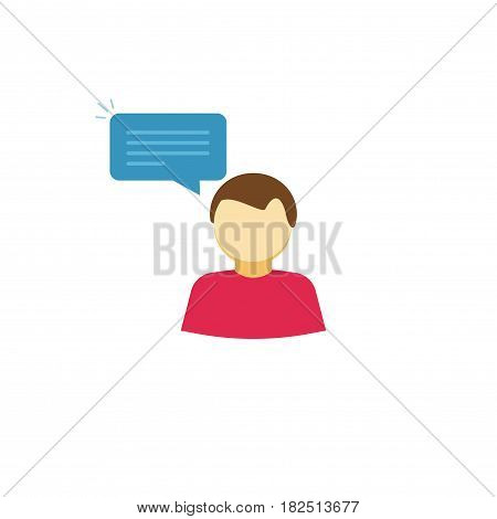 Person saying vector icon, flat style man telling with bubble speech, character dialog