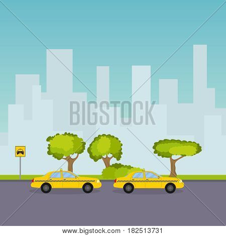 Taxi parking on the background of the cityscape. Flat design vector illustration vector.