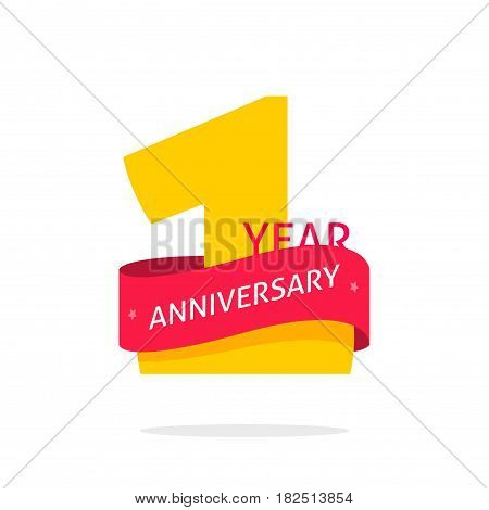 1 year anniversary logo template golden number and red ribbon, 1st anniversary icon label, one year birthday symbol isolated on white background