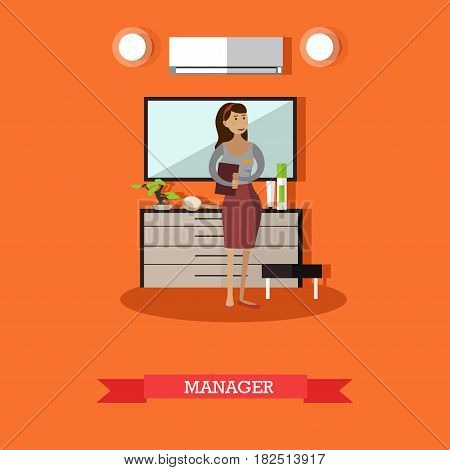 Hotel manager concept vector illustration. Young woman hotelier or lodging manager flat style design element.