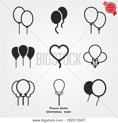 Balloon black silhouette icon isolated on white background. Balloon icon. Balloon icon eps10. Balloon icon illustration. Rubber balloon vector icon.
