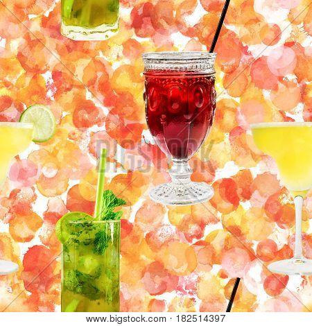 A seamless pattern of vibrant cocktails on a doted watercolor background, including the classic Margarita and Mojito