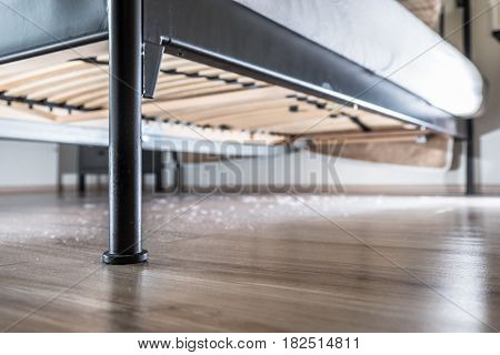 Dust and dirt dirt under the bed.
