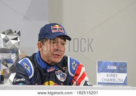 San Diego, USA - April 16, 2017: Kirby Chambliss during press conference the Red Bull Air Race World Championship.
