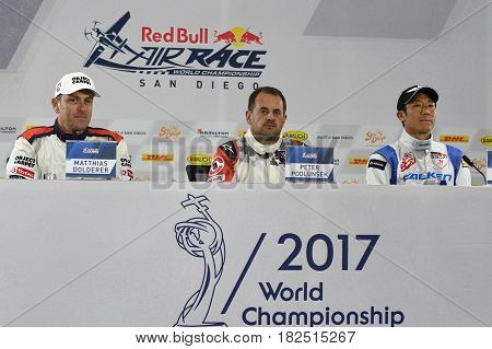 San Diego, USA - April 16, 2017: Matthias Dolderer Peter Podlunsek and Yoshihide Muroya during press conference the Red Bull Air Race World Championship.