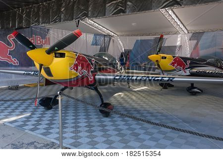 Red Bul Airplanes On Display