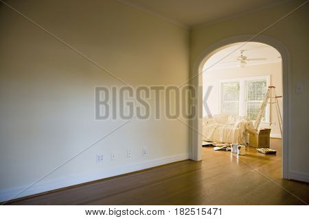 Interior of home with painting supplies