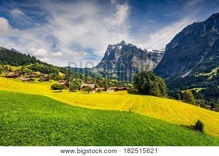 Colorful morning view of Grindelwald village valley from cableway. Wellhorn mountain located west of Innertkirchen in the Bernese Oberland Alps. Switzerland Europe.