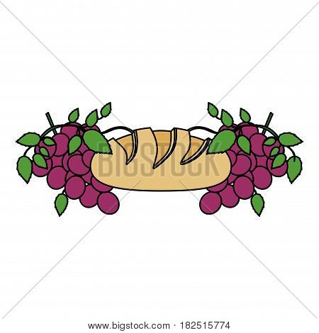 colorful background with communion religious icons of bread and grapes vector illustration