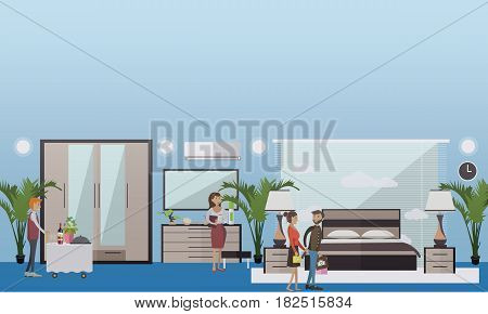 Hotel suite vector illustration. Luxury bedroom, deluxe hotel room interior. Hotel waiter, manager and guests young couple. Flat style design.
