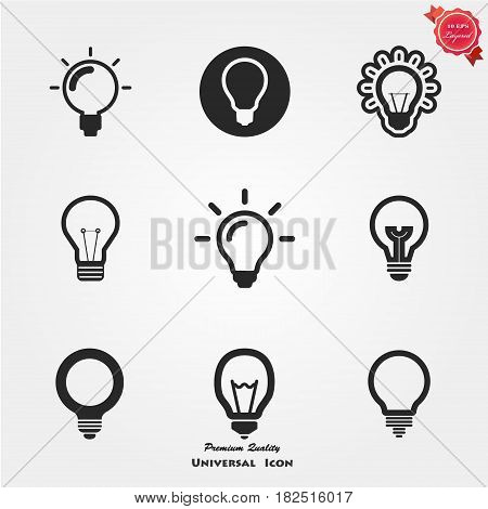 Light Bulb icon vector, isolated on white background. Idea sign, solution, thinking concept. Lighting Electric lamp. Electricity, shine. Trendy Flat style for graphic design, Web site, UI. EPS