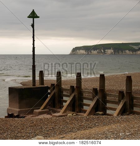 Large groyne at Seaton, South Devon, England