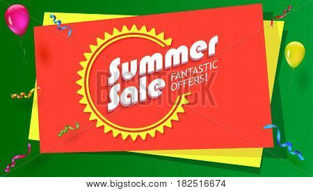 Summer sale, fantastic offer poster. Hot, bright selling banner with graphic symbol of sun and with inflatable balloons, confetti and streamers. Template for online shopping, advertising, sale action.