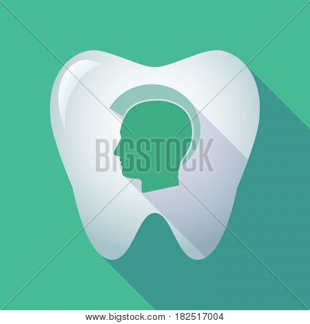 Long Shadow Tooth With  A Male Punk Head Silhouette