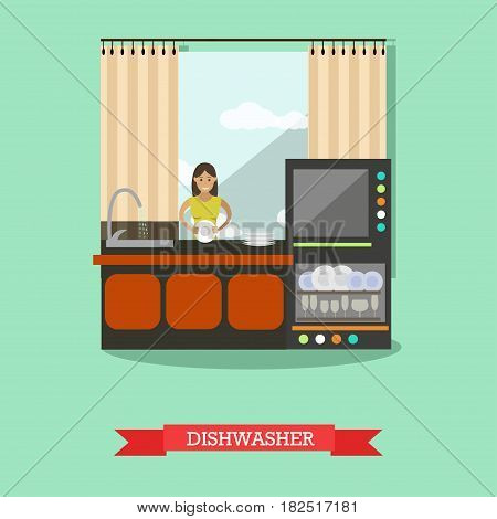 Vector illustration of young smiling woman washing the dishes by hand and using dishwasher. Housewife and household appliances flat style design elements.