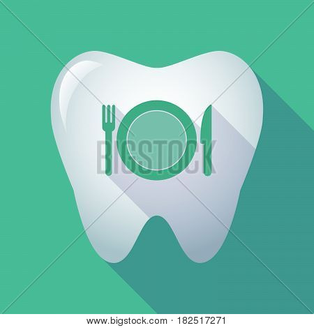 Long Shadow Tooth With  A Dish, Knife And A Fork Icon
