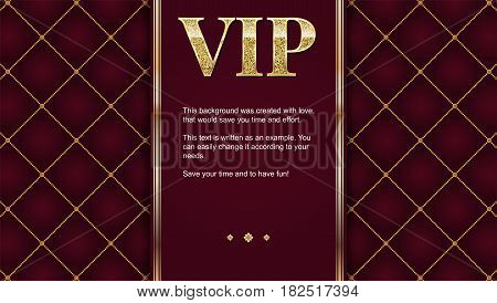 VIP premium invitation card, poster or flyer for party. Golden design template with glittering shine text. Quilted pattern decorative background with gold ribbon and text badge.